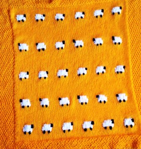 Knitted Sheep Baby Blanket