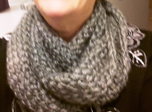 Basketweave Infinity scarf twisted in figure 8 around neck.